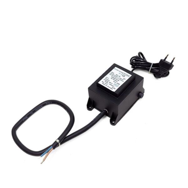 Trafo outdoor voll vergossen 24V IP65 (2m Leitung mit Stecker) 40W