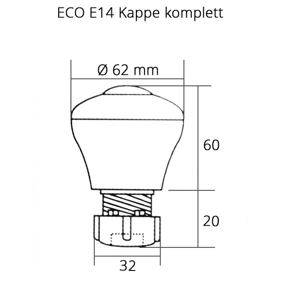 Eco Kappe komplett E14 Hals transparent Deckel orange