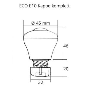 Eco Kappe komplett E10 Hals transparent Deckel farbig