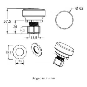 LED 35 SMD (30+5) Einbaucap 2W 220V 60mm IP44 kaltweiß
