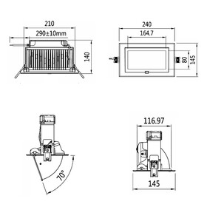LED Downlight 60W 220V Abstrahlwinkel 100° warmweiß